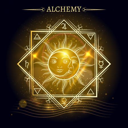 elementos de alquimia y el sol y la luna sobre fondo brillante. ilustración vectorial