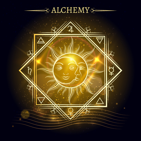 Alchemy elements and sun and moon on shiny background. Vector illustration Illustration