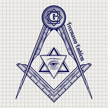 hermetic: Ball pen freemasony vector sign on notebook background. Vector illustration