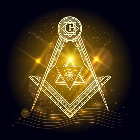 sociedade: sinal Freemasony vetor no fundo de brilho do ouro Ilustração