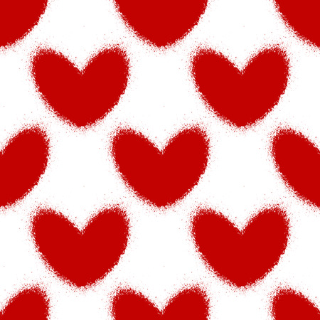 Blood splatters and hearts seamless pattern. Vector illustration