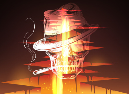 magma: Cracked hole in ground with lava or magma fire and smoker skull vector illustration
