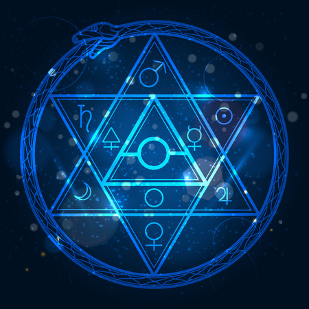 alchemist: Mystical astrological sign with star of David and uroboros on shining background vector