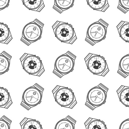 monochromic: Monochromic seamless pattern with watches icons. Vector illustration