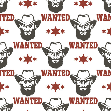 sergeant: Criminal police seamless pattern with criminal man sheriff stars and advertisment wanted. Vector illustration Illustration