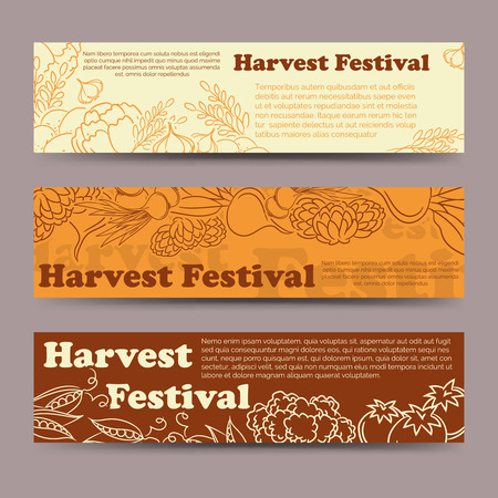 harvest festival: Harvest festival horizontal banners template with line vegetables. Vector illustration