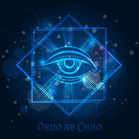 Segno mistico mason con occhio su sfondo brillante blu. Illustrazione vettoriale