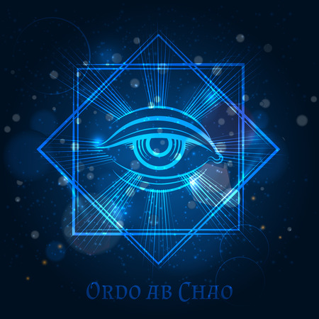 Mystical mason sign with eye on blue shining background. Vector illustration Illustration