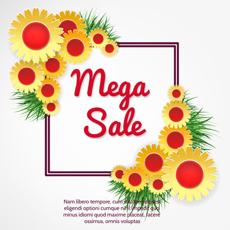 Mega sale banner with yellow flowers and grass vector illustration