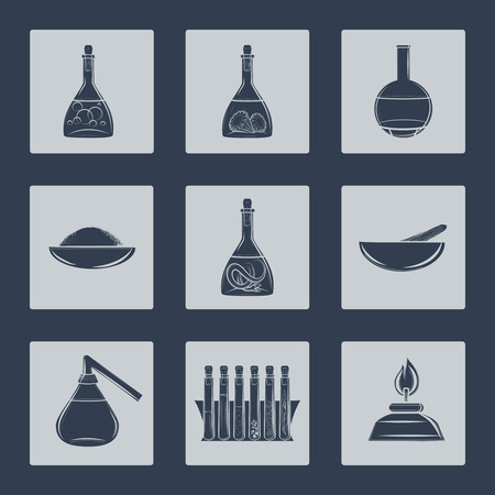 hypothesis: Science lab equipment icons set vector illustration
