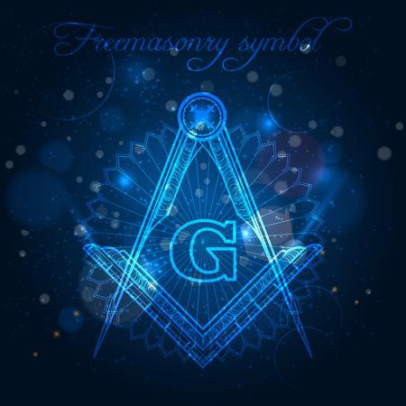 Mystical freemasony symbol on blue shining background vector illustration
