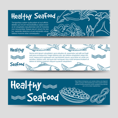 aquaculture: Horizontal banners template with healthy seafood design. Vector illustration
