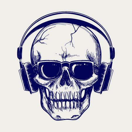Disegno penna a sfera cranio schizzo con le cuffie vettore Archivio Fotografico - 63748495