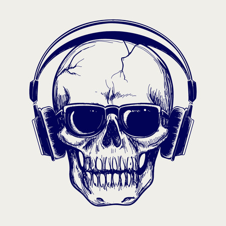 Drawing ball pen skull sketch with headphones vector