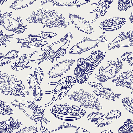 ball pen: Hand drawn healthy seafood seamless pattern. Ball pen drawing background, vector illustration