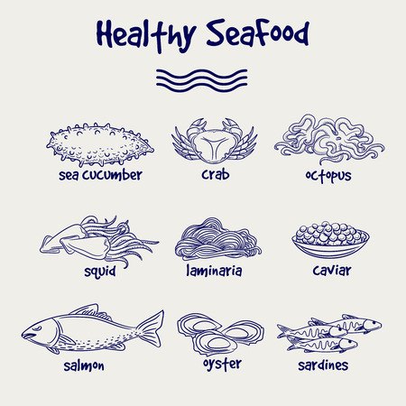 ball pen: Hand drawn healthy seafood set in ball pen drawing style. Vector illustration Illustration