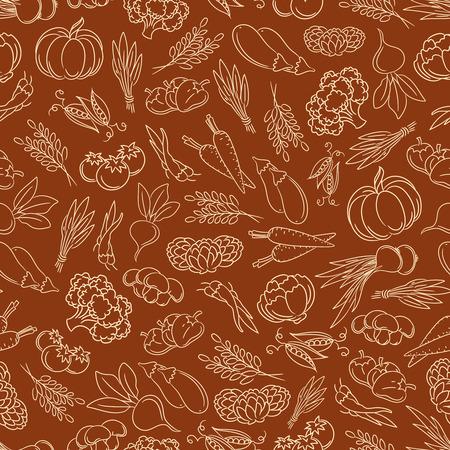 harvest festival: Harvest festival seamless pattern with line vegetables vector illustration