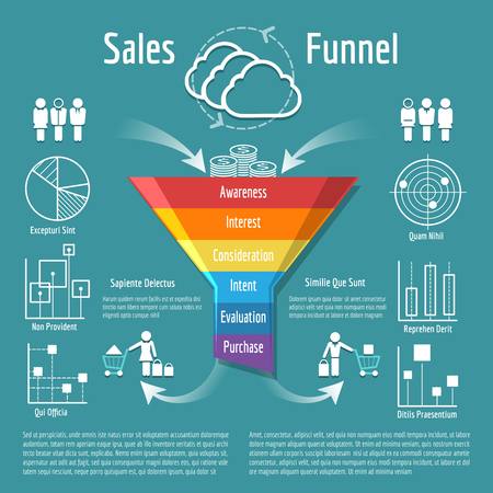Sales funnel vector illustration. Business purchases or sales segmentation, clients targeting process Vettoriali
