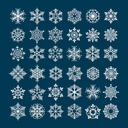 frosted: Snowflake vector set. Snowflakes silhouette clipart for winter holiday frosted and frozen decoration