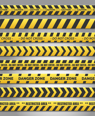 Caution tape set. Vector yellow plastic warning caution tapes for accident scene Illustration