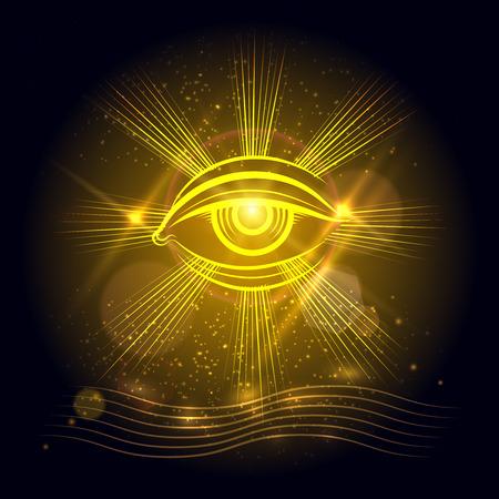 Spiritual eye or egypt eye of God on golden shining background. Vector illustration Vettoriali