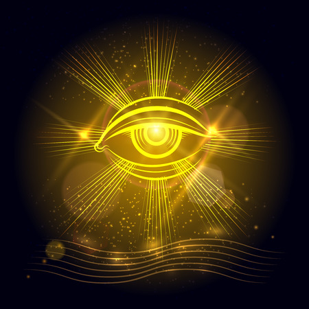 Spiritual eye or egypt eye of God on golden shining background. Vector illustration Ilustracja