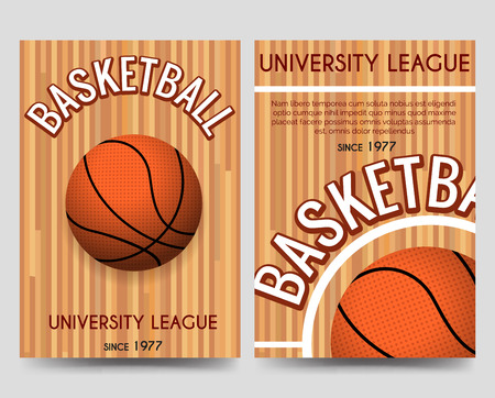 univercity: Univercity basketball brochure flyer template with basketball ball and place for text. Vector illustration