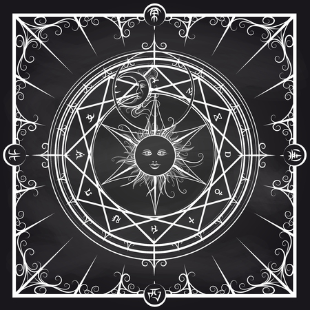 hermetic: White occult hermetic circle vector illustration. Alchemy magic circle on chalkboard background