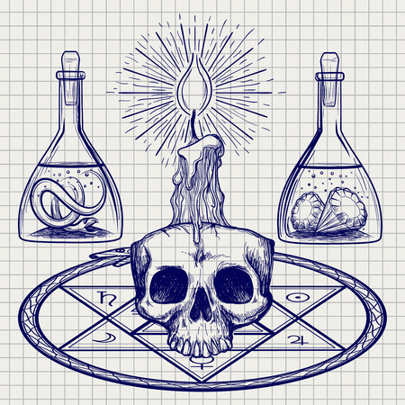 ball pen: Ball pen sketch with skull candle and occult elements. Vector illustration