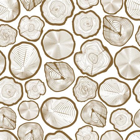 wood cuts: Wood ring saw cuts seamless pattern vector illustration Illustration