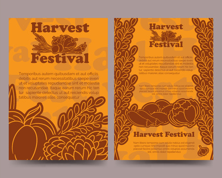 harvest festival: Harvest festival brochure flyer template with lined vegetables. Vector illustration