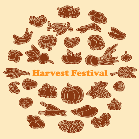 harvest festival: Harvest festival stickers with lined vegetables and fruits icon set. Vector illustration Illustration