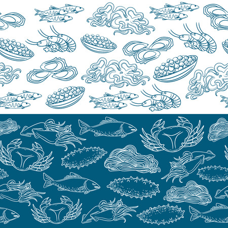 scalloped: Marine life seamless borders. Lined seafood pattern vector illustration