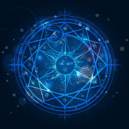 bussola: Alchemy cerchio magico su splendente sfondo blu. illustrazione di vettore Vettoriali