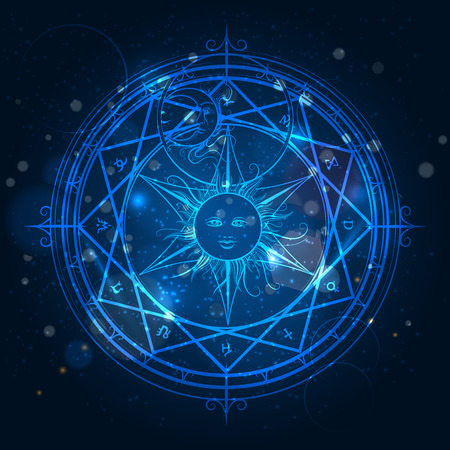 Alchemy magic circle on shining blue background. Vector illustration