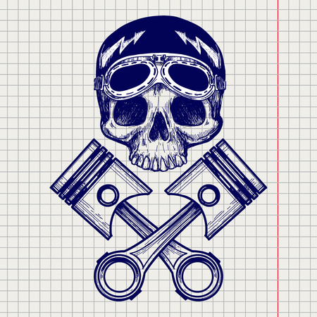 notebook page: Sketch of biker rider skull on notebook page background. Vector illustration