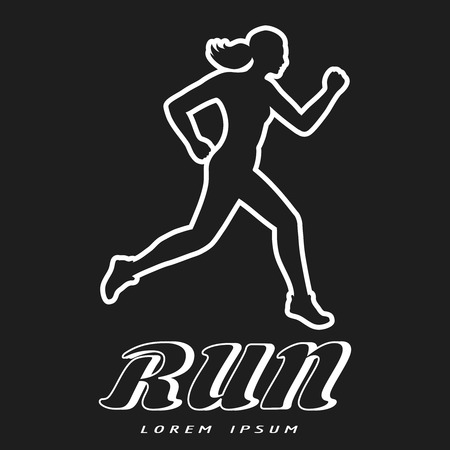 Black and white poster with running woman. Sport motivation vector illustration