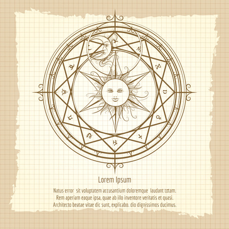 occult: Vintage occult hermetic circle. Alchemy magic circle on notebook backdrop vector illustration