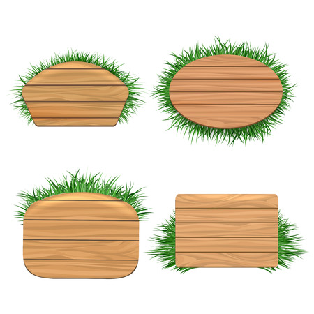 natural materials: Clean wood banners with grass isolated on white background. Natural materials imitation, vector illustration Illustration