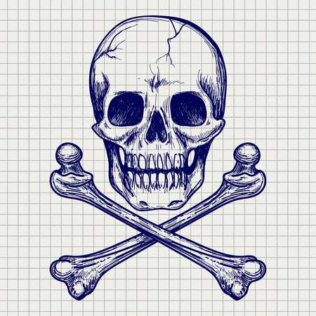 piracy: Ball pen sketch of skull and cross of bones on notebook page. Vector illustration