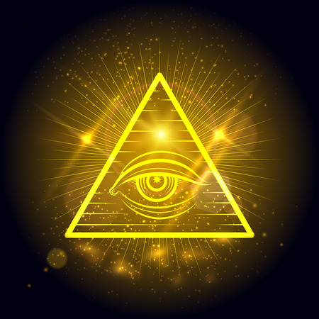 Masonic eye of Omniscience on golden shining background. Mystical symbol vector illustration