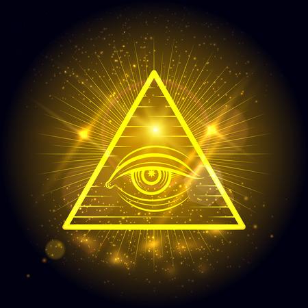 ojo de horus: ojo masónico de la Omnisciencia sobre fondo dorado brillante. ilustración vectorial símbolo místico Vectores