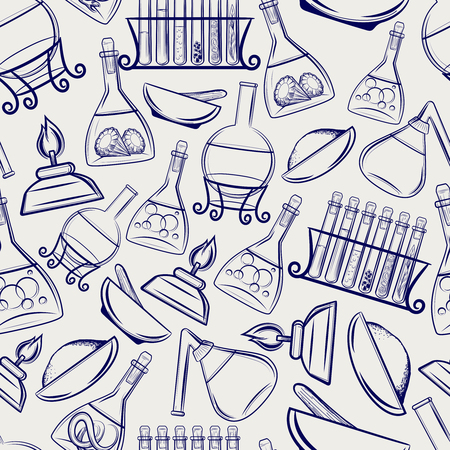 ball pen: Hand drawn science lab equipment seamless pattern in ball pen imitation. Vector illustration Illustration