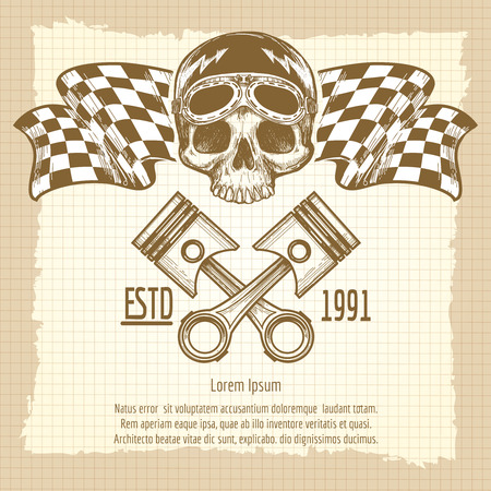 graver: Sketch of vintage biker rider skull with racing flags on lined page background. Vector illustration