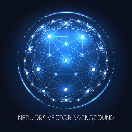 blue sphere: Internet data vector connection concept. Globe network sphere of cyber world technology blue background Illustration