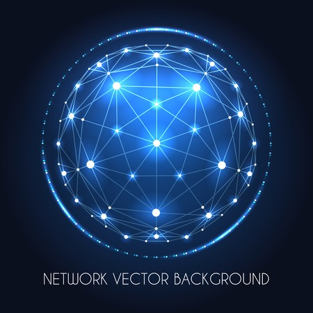 Internet data vector connection concept. Globe network sphere of cyber world technology blue background Vectores