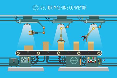 Vector machine conveyor. Machinery industrial factory packaging belt line illustration
