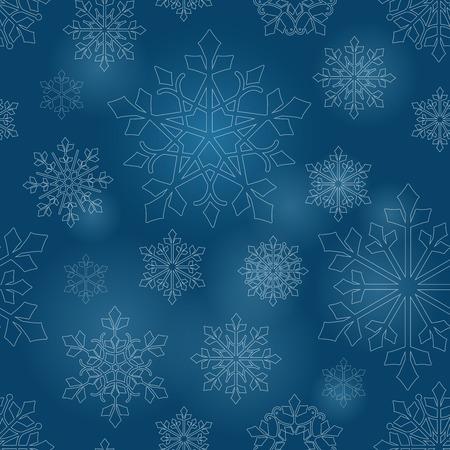christmas backdrop: Snowflakes blue seamless pattern vector. Christmas vector abstract thin line snow backdrop