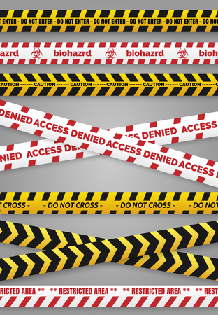 murder scene: Danger construction tapes and caution police tapes isolated vector signs