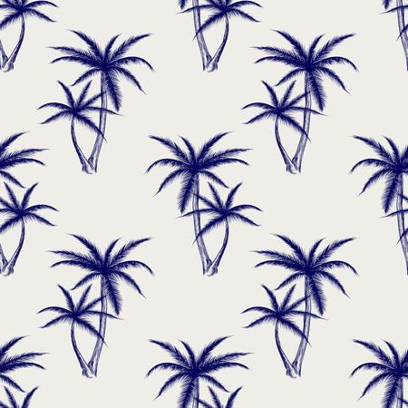 ball pen: Ball pen imitation palms seamless pattern. Sketch palm background vector illustration